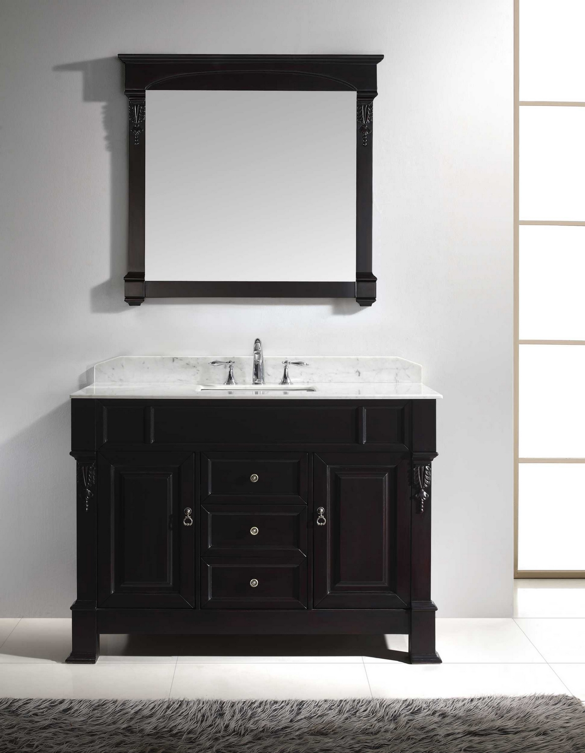 usa huntshire 48 single bathroom vanity cabinet set in dark walnut