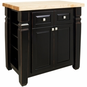 Jeffrey Alexander - Kitchen Island with Adjustable Shelves Both Ends - Aged Black - ISL12-AGB