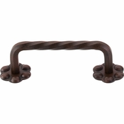 "Top Knobs - Normandy Collection - Thin Twist D-Pull w/Backplate 3 5/32"" (c-c) - Patina Rouge - M645"