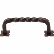 "Top Knobs - Normandy Collection - Twist D-Pull w/Backplates 3 3/4"" (c-c) - Patina Rouge - M711"