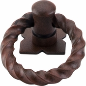 "Top Knobs - Normandy Collection - Twist Ring Pull w/Backplate 1 3/8"" - Patina Rouge - M639"