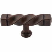 "Top Knobs - Normandy Collection - Square Twist T-Handle 3 3/16"" (c-c) - Patina Rouge - M738"