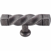 "Top Knobs - Normandy Collection - Square Twist T-Handle 3 3/16"" (c-c) - Pewter - M739"