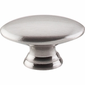 "Top Knobs - Nouveau Collection - Oval Knob 1 1/2"" - Brushed Satin Nickel - M379"