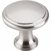 "Top Knobs - Nouveau Collection - Ringed Knob 1 1/8"" - Brushed Satin Nickel - M376"