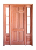 """Prestige Entries – 6 Panel with Raised Moulding One Side with 14"""" 3 Lite Sidelites – 5468-M6PRM-SL-131"""