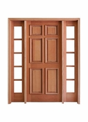 """Prestige Entries – 6 Panel with Raised Moulding One Side with 14"""" 5 Lite Sidelites – 5468-M6PRM-SL-150"""