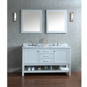 "Seacliff by Ariel Bayhill 60"" Double Sink Vanity Set in Cloud Grey"