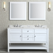 "Seacliff by Ariel Mayfield 60"" Double Sink Vanity Set in White"