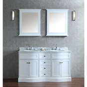 "Seacliff by Ariel Montauk 60"" Double Sink Vanity Set in White"