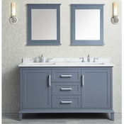 "Seacliff by Ariel Nantucket 60"" Double Sink Vanity Set in Whale Grey"