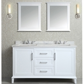 "Seacliff by Ariel Nantucket 60"" Double Sink Vanity Set in White"