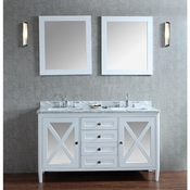 "Seacliff by Ariel Summit 60"" Double Sink Vanity Set in White"