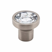 "Top Knobs - Barrington Collection - Wentworth Crystal Round Knob 13/16"" - Brushed Satin Nickel Base - TK735BSN"