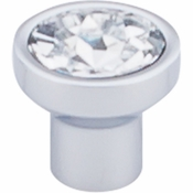 "Top Knobs - Barrington Collection - Wentworth Crystal Round Knob 13/16"" - Polished Chrome Base - TK735PC"