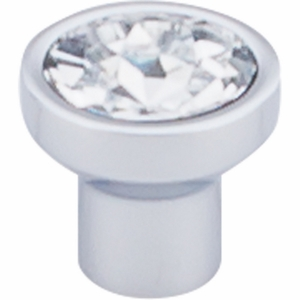 """Top Knobs - Barrington Collection - Wentworth Crystal Round Knob 13/16"""" - Polished Chrome Base - TK735PC"""