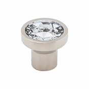"Top Knobs - Barrington Collection - Wentworth Crystal Round Knob 13/16"" - Polished Nickel Base - TK735PN"