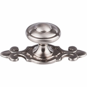 "Top Knobs - Britannia Collection - Canterbury Knob 1 1/4"" w/Backplate - Brushed Satin Nickel - M2135"