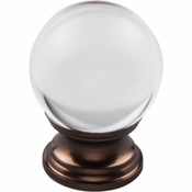 "Top Knobs - Serene Collection - Clarity Clear Glass Round Knob 1 3/16"" - Oil Rubbed Bronze Base - TK841ORB"