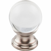 "Top Knobs - Serene Collection - Clarity Clear Glass Round Knob 1"" - Brushed Satin Nickel Base - TK840BSN"