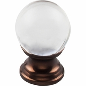 "Top Knobs - Serene Collection - Clarity Clear Glass Round Knob 1"" - Oil Rubbed Bronze Base - TK840ORB"