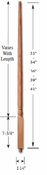 Carolina Stair Supply - Traditional Poplar Baluster - 5015-LB-41-P
