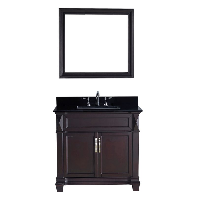 Victoria 36 Single Bathroom Vanity In Espresso With Black Galaxy Granite Top And Square Sink