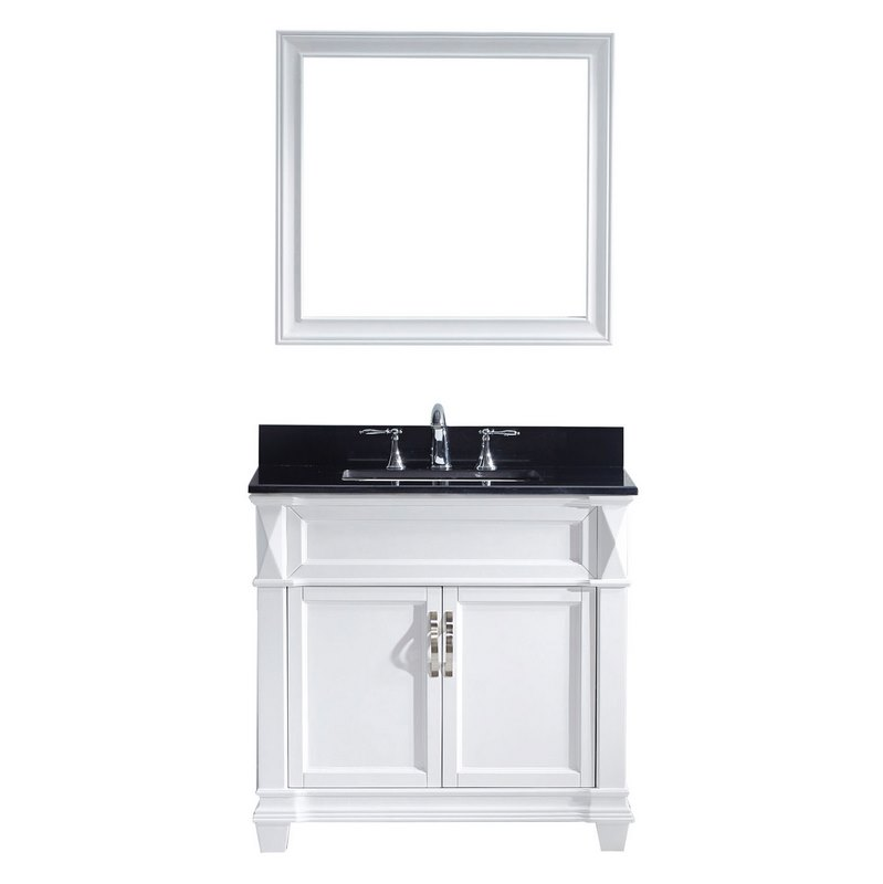 Virtu Usa Victoria 36 Single Bathroom Vanity In White With Black Galaxy Granite Top And