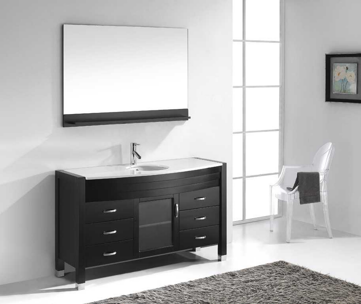 "Single Bathroom Vanity Cabinets virtu usa ava 55"" single bathroom vanity cabinet set in"