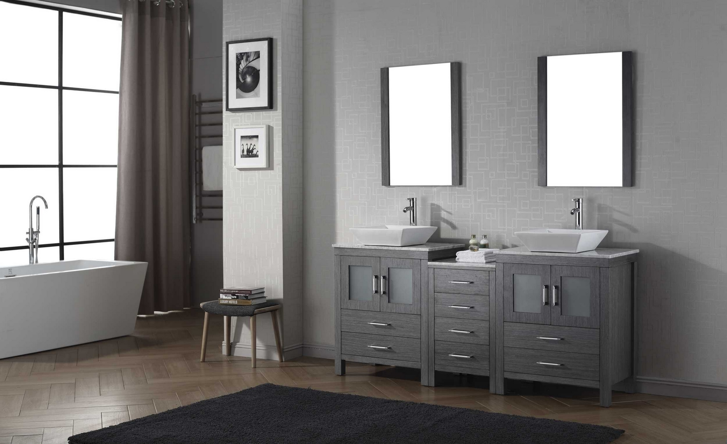 Virtu USA Dior 66  Double Bathroom Vanity Cabinet Set in Zebra Grey br Virtu USA Dior 66  Double Bathroom Vanity Cabinet Set in Zebra  . 66 Double Sink Vanity. Home Design Ideas