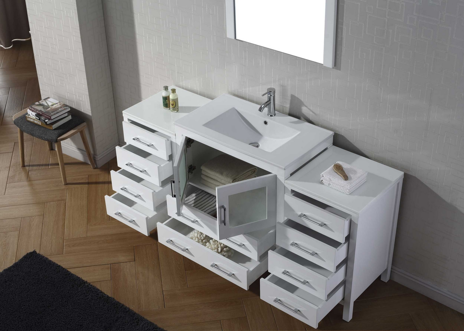 Virtu USA Dior Single Bathroom Vanity Cabinet Set In Zebra - Single bathroom vanity cabinets