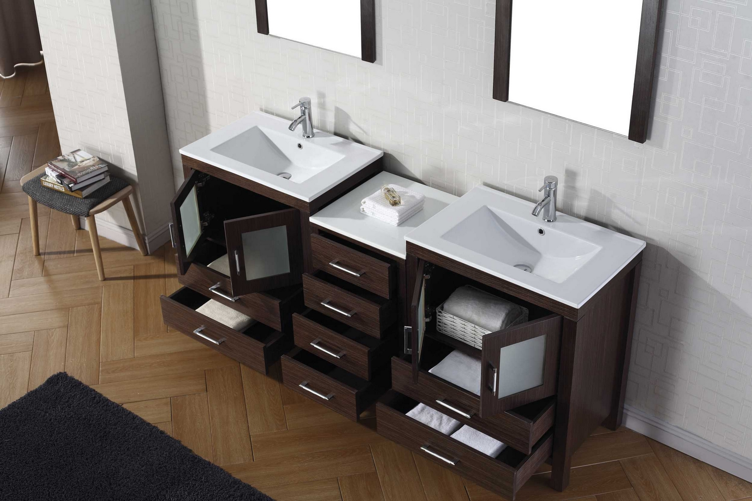 Virtu Usa Dior 74 Double Bathroom Vanity Cabinet Set In