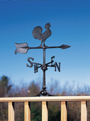 "Whitehall Products - 24"" Rooster Accent Weathervane - Black Aluminum - 00067"