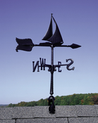 "Whitehall Products - 24"" Sailboat Accent Weathervane - Black Aluminum - 00075"