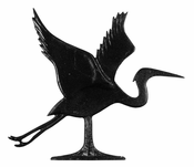 "Whitehall Products - 30"" Blue Heron Weathervane - Garden Black Aluminum - 65329"