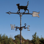 "Whitehall Products - 30"" Cat Standing Weathervane - Rooftop Black Aluminum - 65531"