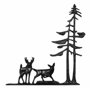 "Whitehall Products - 30"" Deer & Pines Weathervane - Garden Black Aluminum - 65337"