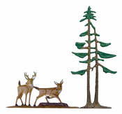 "Whitehall Products - 30"" Deer & Pines Weathervane - Rooftop Color Aluminum - 65556"