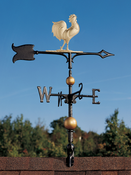 "Whitehall Products - 30"" Full-Bodied Rooster Weathervane - Gold-Bronze Aluminum - 03231"