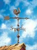 "Whitehall Products - 30"" Full-Bodied Rooster Weathervane - Verdigris Aluminum - 45148"