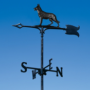 "Whitehall Products - 30"" German Shephard Weathervane - Garden Black Aluminum - 65346"