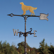 "Whitehall Products - 30"" Golden Retriever Weathervane - Rooftop Color Aluminum - 65562"