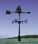 "Whitehall Products - 30"" Sailboat Accent Weathervane - Black Aluminum - 00073"