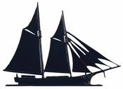 "Whitehall Products - 30"" Schooner Weathervane - Rooftop Black Aluminum - 03053"