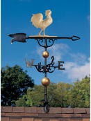 "Whitehall Products - 46"" Rooster Weathervane - Gold-Bronze Aluminum - 00432"