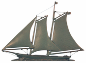 "Whitehall Products - 46"" Yacht Weathervane - Verdigris Aluminum - 45116"