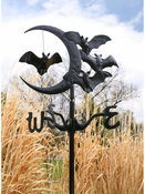 Whitehall Products - Bat and Moon Garden Weathervane - Black Aluminum - 60122