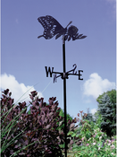 Whitehall Products - Butterfly Garden Weathervane - Black Aluminum - 00082