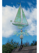 Whitehall Products - Copper Sailboat Weathervane - Verdigris Copper - 45026