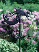 Whitehall Products - Cow Over Moon Garden Weathervane - Black  Aluminum - 00083